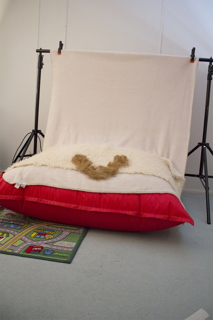 photographing newborns beanbag setup