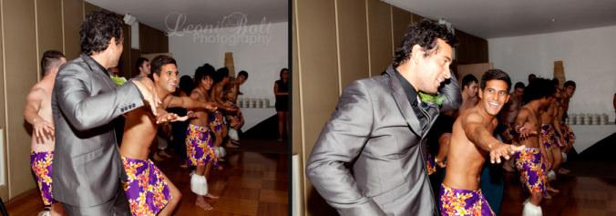 groom dancing with islander dancers