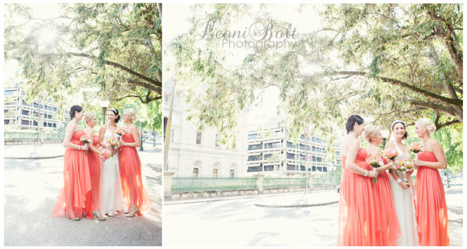 Grecian style wedding dress with peach bridesmaids