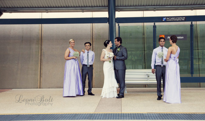 wedding at bus stop