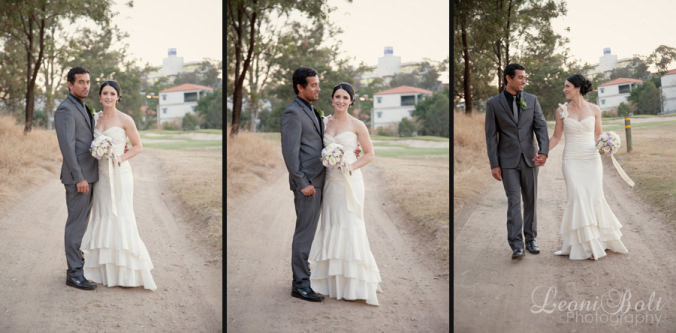 wedding photos on a dirt track